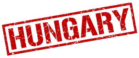 hungary: Hungary red square stamp