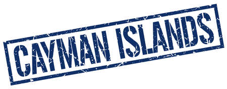 cayman: Cayman Islands blue square stamp