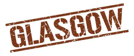 glasgow: Glasgow brown square stamp