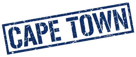 cape town: Cape Town blue square stamp Illustration