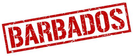 barbados: Barbados red square stamp