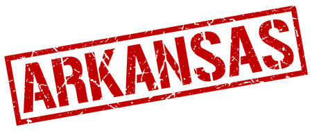 arkansas: Arkansas red square stamp Illustration