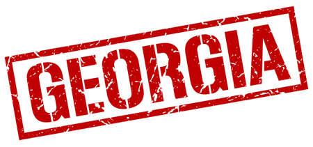 georgia: Georgia red square stamp Illustration