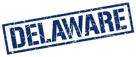 delaware: Delaware blue square stamp Illustration