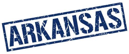 arkansas: Arkansas blue square stamp Illustration