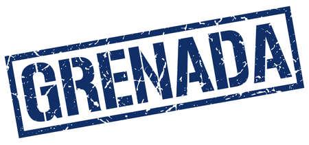 grenada: Grenada blue square stamp Illustration
