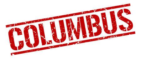 columbus: Columbus red square stamp