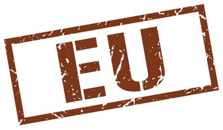 eu: eu brown square stamp Illustration