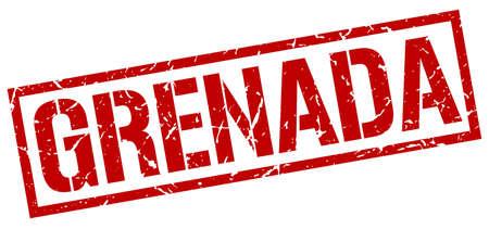 grenada: Grenada red square stamp Illustration