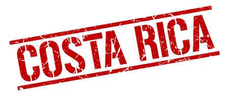 costa: Costa Rica red square stamp