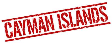 cayman: Cayman Islands red square stamp Illustration