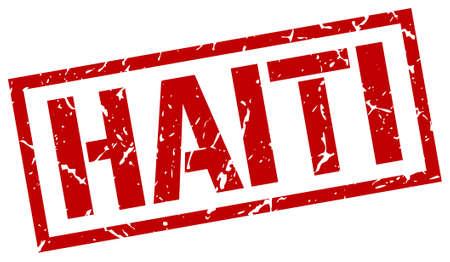 haiti: Haiti red square stamp Illustration