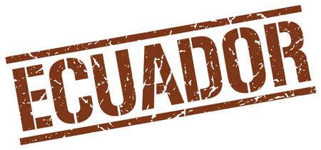 ecuador: Ecuador brown square stamp Illustration