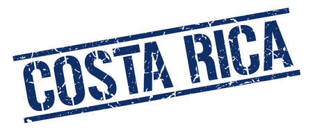 costa rica: Costa Rica blue square stamp