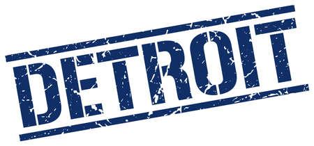 detroit: Detroit blue square stamp Illustration