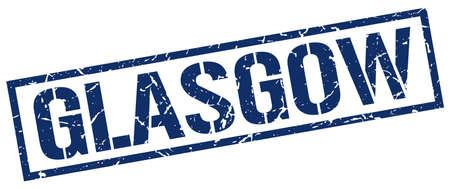 glasgow: Glasgow blue square stamp