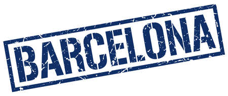 barcelona: Barcelona blue square stamp