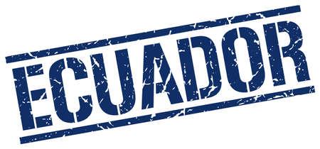 ecuador: Ecuador blue square stamp