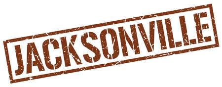 jacksonville: Jacksonville brown square stamp Illustration