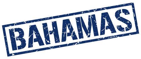 bahamas: Bahamas blue square stamp Illustration