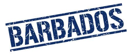 barbados: Barbados blue square stamp Illustration