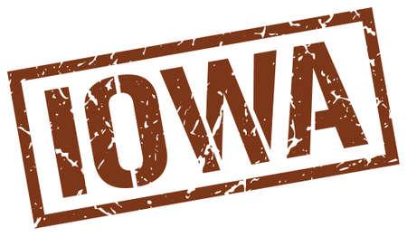 iowa: Iowa brown square stamp Illustration