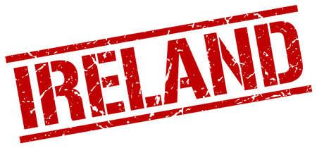 ireland: Ireland red square stamp