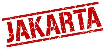 jakarta: Jakarta red square stamp