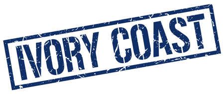ivory: Ivory Coast blue square stamp Illustration