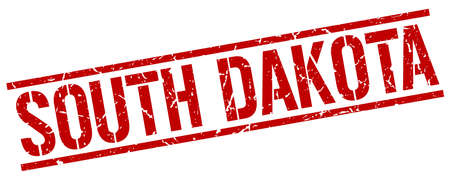 south dakota: South Dakota red square stamp