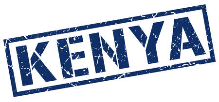 kenya: Kenya blue square stamp