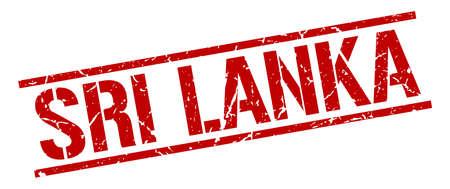 sri lanka: Sri Lanka red square stamp