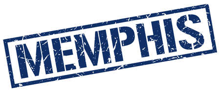 memphis: Memphis blue square stamp
