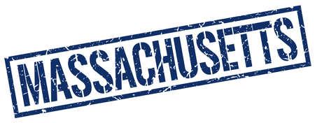 massachusetts: Massachusetts blue square stamp Illustration
