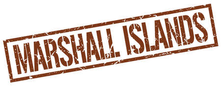 marshall: Marshall Islands brown square stamp Illustration