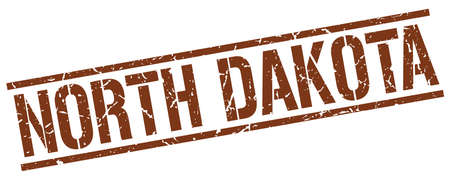 north dakota: North Dakota brown square stamp Illustration