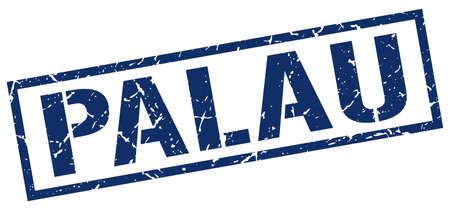 palau: Palau blue square stamp Illustration