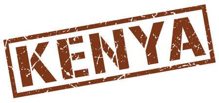 kenya: Kenya brown square stamp