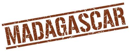 madagascar: Madagascar brown square stamp Illustration