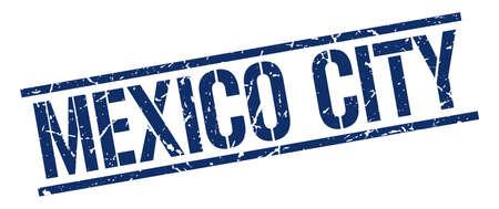 mexico city: Mexico City blue square stamp