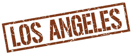 angeles: Los Angeles brown square stamp Illustration