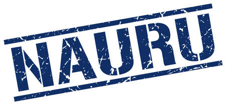 nauru: Nauru blue square stamp