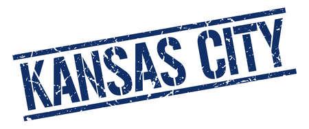 KANSAS: Kansas City blue square stamp