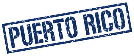 puerto rico: Puerto Rico blue square stamp Illustration