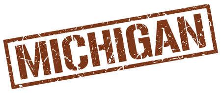 michigan: Michigan brown square stamp