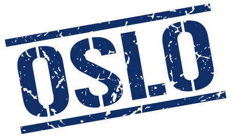 oslo: Oslo blue square stamp