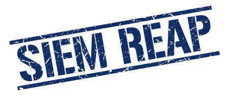 siem reap: Siem Reap blue square stamp