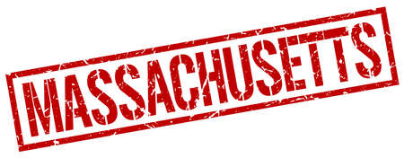 massachusetts: Massachusetts red square stamp Illustration