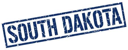 dakota: South Dakota blue square stamp Illustration