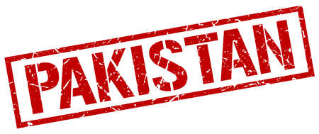 Pakistan: Pakistan red square stamp Illustration